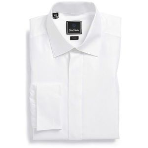DAVID DONAHUE WHITE TRIM FIT SHIRT SZ 15 1/2 34/35